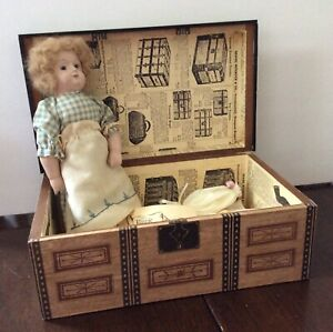 doll wooden trunk /paper covered with doll & accessories repro old store stock