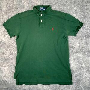 Ralph Lauren Polo Shirt Mens Medium Green Short Sleeve Custom Fit Red Pony E2