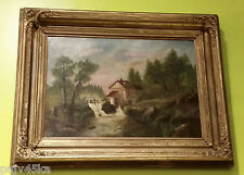 """ANTIQUE TONALIST O/C PAINTING and FRAME """"The River Mill"""""""