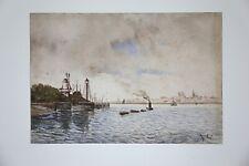 Aquarelle représentant des bateaux devant un port monogramme A C Hollande ?