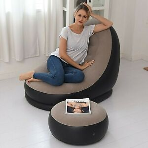 Inflatable Sofa Compressible Long Chair Bed Flocking Pile Coating With Footrest