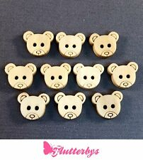 Teddy Bear Shaped Wooden Buttons