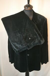 "Vintage Emporio Armani black Velvet 2 piece suit XL 56 46"" W 36"" made Italy"