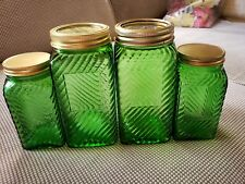 """Depression GLASS HOOSIER Canisters Storage jars 4 EMERALD GREEN RIBBED 6.5"""" & 5"""""""