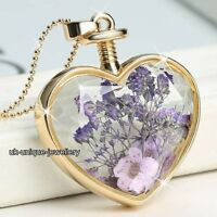 Purple Flowers Necklace Gold Xmas Gifts For Her Girlfriend Wife Women Jewellery