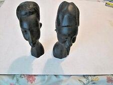 "VINTAGE LENOR HAND CARVED EBONY WOOD 8""PAIR MALE & FEMALE HEADS BUSTS FIGURINES"