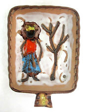 "Art Pottery Italy #8715 Square Bowl Dish Hand Made Glazed Woman & Tree 6""x4""x1"""