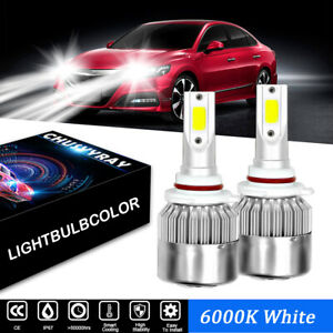 For Fiat 500 2012-2018 High and Low Beam 9012 LED Headlight Bulb Kit 6000K White