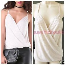 NWT BEBE Studded Embellished Surplice Draped Top Shirt Light Gray XS 0 2