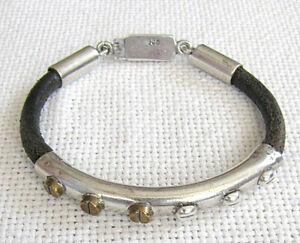 Mexico art deco silver sterling, brass and leather cord bracelet, 22 gr.
