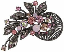RUCINNI  Floral Spray Brooch with Swarovski Crystal
