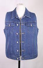 T40-14 Damen Jeans Biker Weste Gilet blau Used-Look Gr. 42 tailliert Vintage