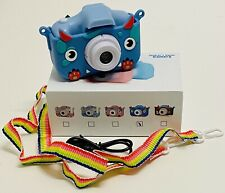 "Cute & Durable Children's Digital Camera w/ Rubber ""Monster Face"" Case, Blue"