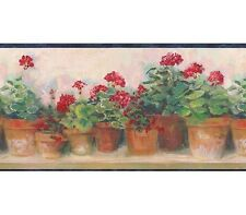 Blue and Red Floral Geraniums Wallpaper Border 95081 PC