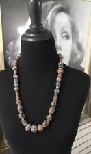 """Vintage African? Ethnic Pottery Bead Necklace 27"""" Hand Carved Painted"""