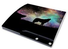 Playstation 3 SLIM Aufkleber PS3 Skin Sticker Schutzfolie Wolf Howling Stars