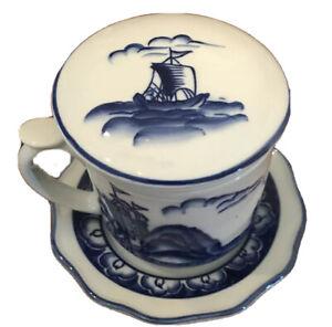 Blue and White Ship Theme Porcelain Tea Seeper Mug Lid Saucer Infuser 4 Pieces