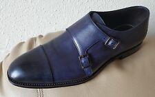 Hugo Boss Men's Blue Navy Leather Double Monk MADE IN ITALY Sz 8 feel like Sz 9