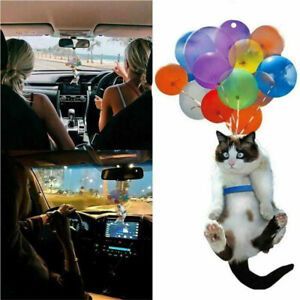 Car Cute Cat Hanging Ornament w/Colorful Balloon Pendant Hanging Crafts Decor US