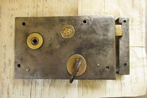 """8"""" x 5"""" Victorian Cast Iron Door Rim Lock Key Keep Colledge & Bridgen"""