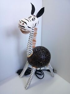 Coconut Shell Wood Table Lamp Handmade Home Decor Bedside Desk lamp Gift Zebra