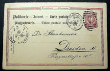 GERMANY REPLY CARD LONDON TO DRESDEN ANTWORT 1889