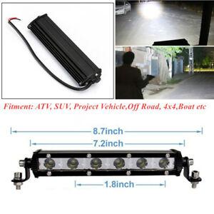 1Pair 60W Ultra Slim Row LED Spot Work Light Bar Off-Road ATV SUV 8 Inch 6000K