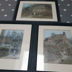 3 X Framed Victorian Country Cottage Style Prints