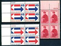 USAstamps Unused VF US Special Delivery Plate Blocks Scott E22, E23, FA1 OG MNH