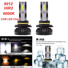 9012 HIR2 Car LED Headlight Bulbs High / Low Beam Kit 6000K w/ COB LED Chip IP68