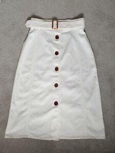 L.K.Bennett Ladies White Button ODA Skirt - Size 12
