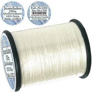 Spule a. 100 m Jeansfaden weiß, Ne 25/3, 100% Nylon, Nähmaschinen Nähfaden, 1700