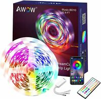 LED Light Strip 32.8Ft sync with Music party strip lights 5050 RGB with remote