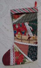 """Handcrafted Christmas Fabric Stocking Lace Trim Poinsettia 12"""""""