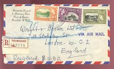 TRINIDAD 1956 QE2 AIR 3 COLOUR PICTORIAL FRANKING to UK