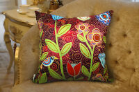 VELVET PILLOW COVER Floral Folk Art Abstract Primitive Colorful Karla Gerard