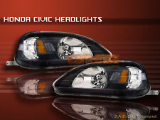 99 00 HONDA CIVIC SI 2/3/4DR JDM BLACK HEADLIGHTS PAIR