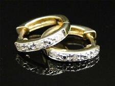 10K Womens Ladies Yellow Gold Rounnd Cut Diamond Pave Hoops Earrings 9 MM