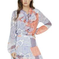 Tommy Hilfiger Womens Blue Ruffled Lace-Up Patchwork Blouse Top M BHFO 6833