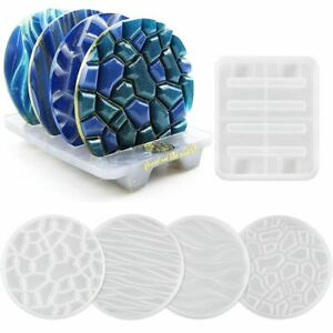 DIY Resin Epoxy Glue Drop Mold 4 Patterns Coaster Silicone Mold Coaster Hot