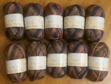 Patons SWS Soy Wool Stripes Yarn 10 skeins in Natural Earth Two Dye Lots