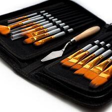 15Pcs Watercolour Artist Paint Brushes Set Acrylic Oil Painting With Bag Case