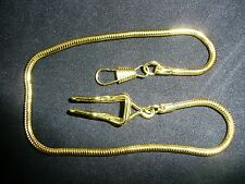 Brand new gold plated snake link pocket watch chain