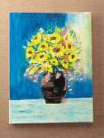 Sunflowers Flowers Art Acrylic Painting on Canvas Traditional Art