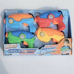 4 Pack of Water Blasters Quickdraw Battle Pack Outside Toy
