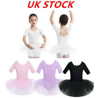 UK Girls Ballet Dance Dress Leotard Skating Kids Gymnastic Tutu Skirts Dancewear