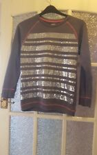 M & S LIMITED Girls Grey Sweatshirt-Jumper Sequins to front 12-13 Years