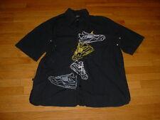 Vintage Nike Air Jordan Shoes Camp Shirt BLACK Logos Mens XL Sharp!