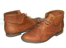 ❤️ STEVE MADDEN Stingrei Cognac Leather Fold-Over Ankle Lace-Up Boot 9 M L@@K!17