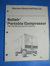 Sullair Air Compressor Operators Manual Amp Parts List 1050 1250 1980